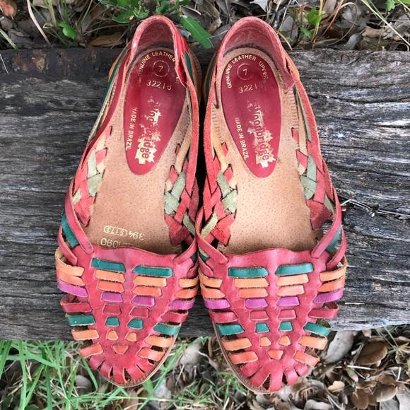 a97b6f980251 Vintage Rainbow Huaraches Leather Sandals. M 5b8d3877d6dc5294df268277